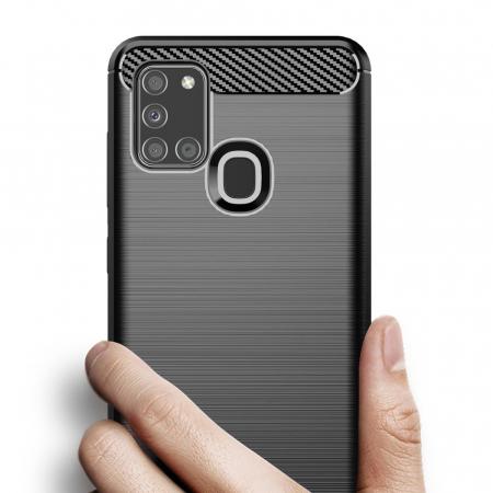 Husa Samsung Galaxy A21S - Tpu Carbon Fibre Brushed - negru [1]