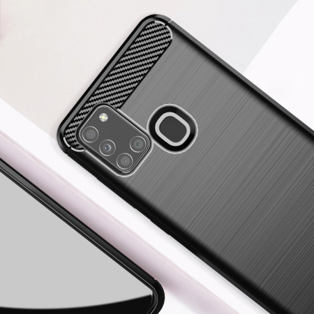 Husa Samsung Galaxy A21S - Tpu Carbon Fibre Brushed - negru [2]