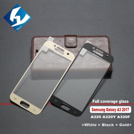 Folie Sticla Securizata Full Screen Soft Edge 3D Samsung Galaxy A3 2017 - gold3