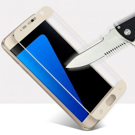 Folie Sticla Securizata Full Screen Soft Edge 3D Samsung Galaxy A3 2017 - gold0
