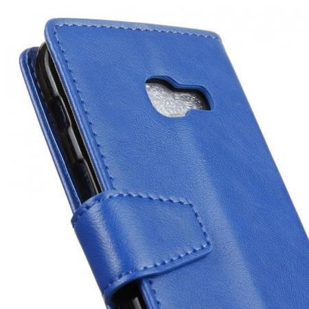 Husa Crazy Horse flip din piele eco Samsung Galaxy A3 2017 - albastru1