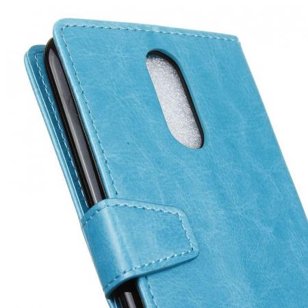 Husa LG K10 (2017) flip din piele eco Crazy Horse - albastru2
