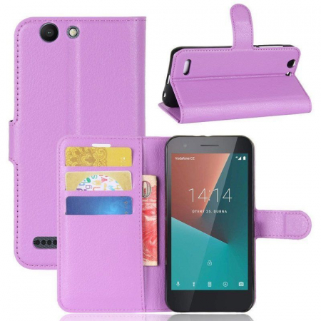 Husa flip din piele eco Crazy Horse Vodafone Smart E8 - mov4