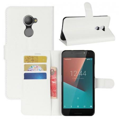 Husa flip din piele eco Crazy Horse Vodafone Smart N8 - alb1