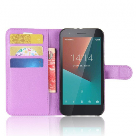 Husa flip din piele eco Crazy Horse Vodafone Smart E8 - mov5