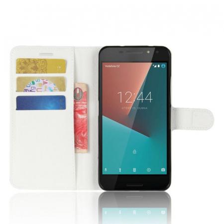 Husa flip din piele eco Crazy Horse Vodafone Smart N8 - alb4