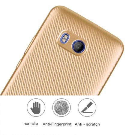 Husa HTC U11 - Tpu Carbon - gold1