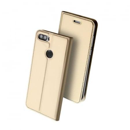 Husa   Huawei P Smart / Enjoy 7S  Dux Ducis din piele eco - gold2