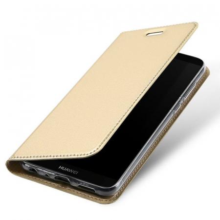 Husa   Huawei P Smart / Enjoy 7S  Dux Ducis din piele eco - gold0