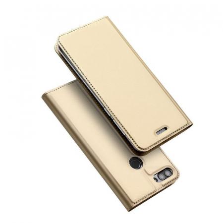 Husa   Huawei P Smart / Enjoy 7S  Dux Ducis din piele eco - gold1
