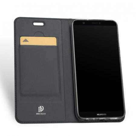Husa   Huawei P Smart / Enjoy 7S  Dux Ducis din piele eco - grey3