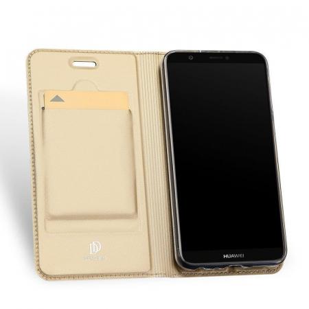 Husa   Huawei P Smart / Enjoy 7S  Dux Ducis din piele eco - gold3