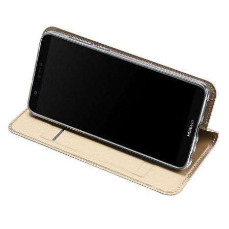 Husa   Huawei P Smart / Enjoy 7S  Dux Ducis din piele eco - gold4