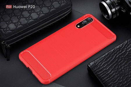 Husa  Huawei P20 Tpu Carbon Fibre Brushed - rosu2
