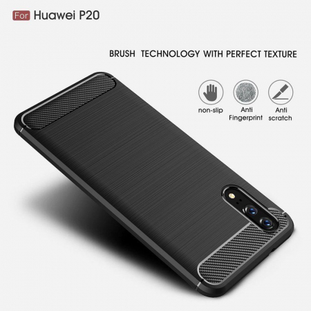 Husa  Huawei P20 Tpu Carbon Fibre Brushed - rosu4
