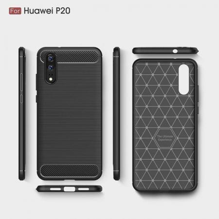 Husa  Huawei P20 Tpu Carbon Fibre Brushed - rosu6