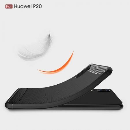 Husa  Huawei P20 Tpu Carbon Fibre Brushed - rosu3