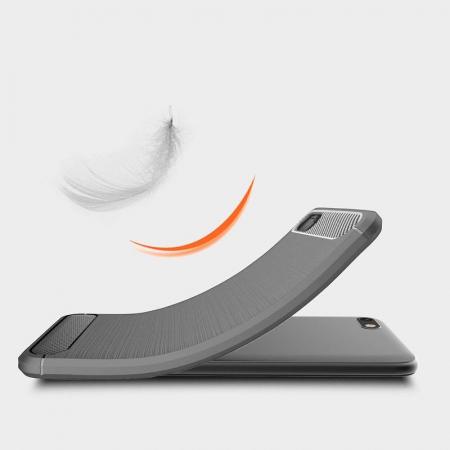 Husa   Huawei Y5 ( 2018 ) Silicon Tpu Carbon Brushed - gri3