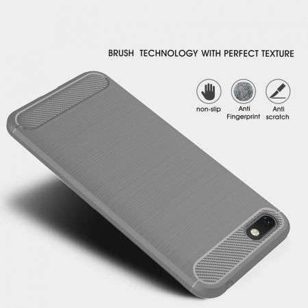 Husa   Huawei Y5 ( 2018 ) Silicon Tpu Carbon Brushed - gri2