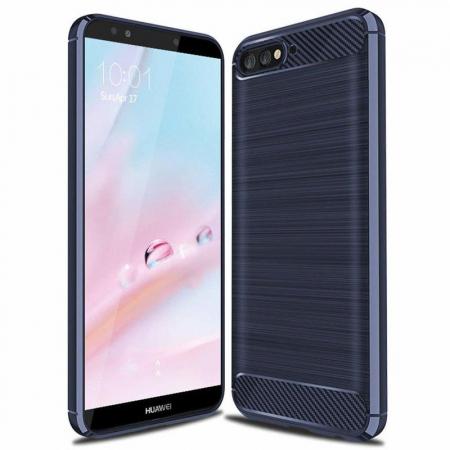 Husa Huawei Y6 ( 2018 ) Silicon Tpu Carbon Brushed - albastru0