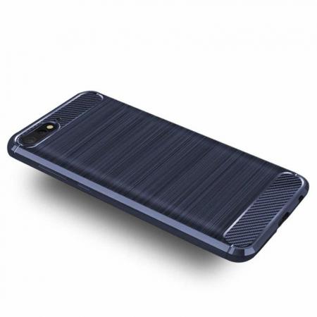 Husa Huawei Y6 ( 2018 ) Silicon Tpu Carbon Brushed - albastru1