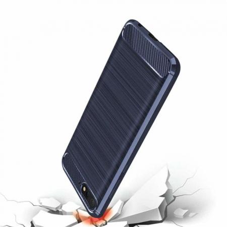 Husa Huawei Y6 ( 2018 ) Silicon Tpu Carbon Brushed - albastru2