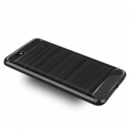 Husa Huawei Y6 ( 2018 ) Silicon Tpu Carbon Brushed - negru1