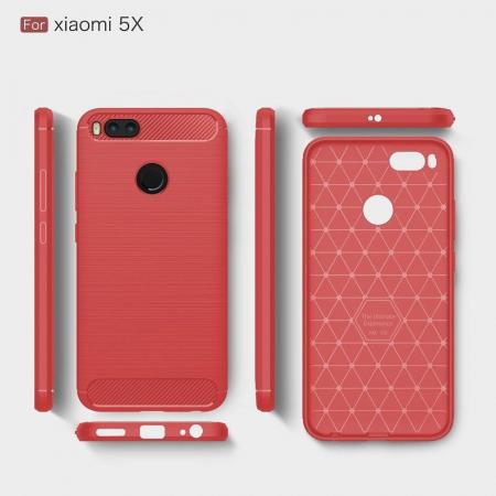 Husa  Husa Xiaomi A1 / Mi 5X Silicon Tpu - Carbon Fibre Brushed - rosu5