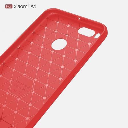 Husa  Husa Xiaomi A1 / Mi 5X Silicon Tpu - Carbon Fibre Brushed - rosu3