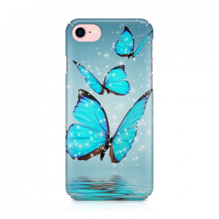 Husa iPhone 7 Custom Hard Case Blue Butterflys2