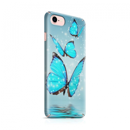 Husa iPhone 7 Custom Hard Case Blue Butterflys0