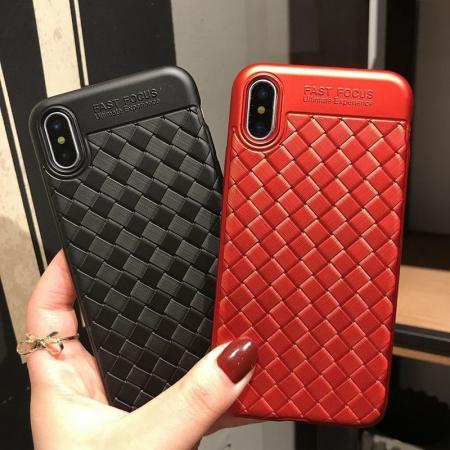 Husa iPhone X Weaving Pattern TPU  - negru4