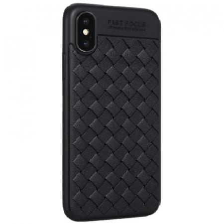Husa iPhone X Weaving Pattern TPU  - negru0