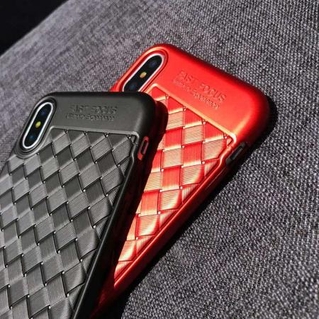 Husa iPhone X Weaving Pattern TPU  - rosu8
