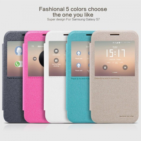 Husa Nillkin Sparkle Samsung Galaxy S7 - alb6