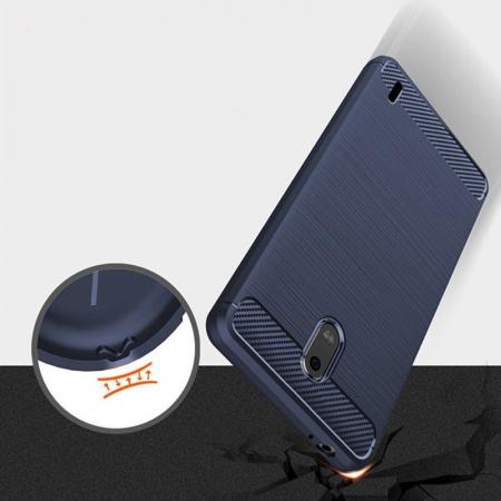 Husa   Nokia 2 Tpu Carbon Fibre Brushed - albastru5