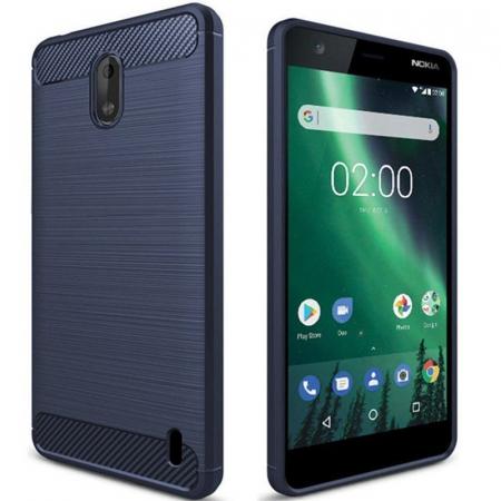 Husa   Nokia 2 Tpu Carbon Fibre Brushed - albastru1