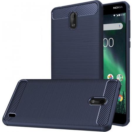Husa   Nokia 2 Tpu Carbon Fibre Brushed - albastru0