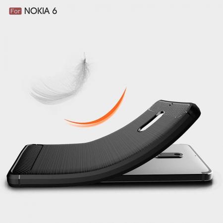 Husa Nokia 6 Carbon Fibre Brushed - negru5