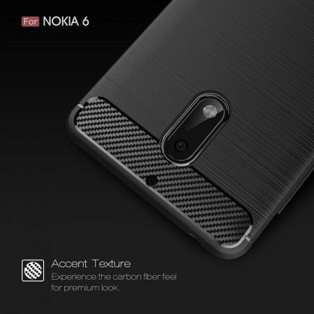 Husa Nokia 6 Carbon Fibre Brushed - negru4