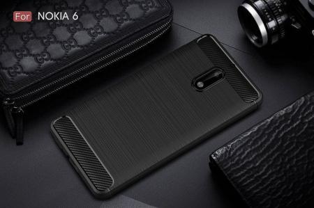 Husa Nokia 6 Carbon Fibre Brushed - negru1