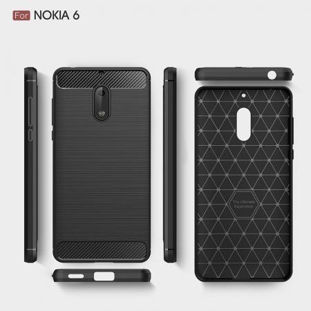 Husa Nokia 6 Carbon Fibre Brushed - negru2