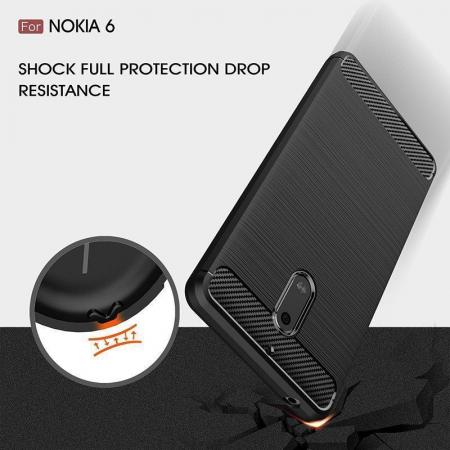 Husa Nokia 6 Carbon Fibre Brushed - negru7