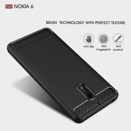 Husa Nokia 6 Carbon Fibre Brushed - negru6