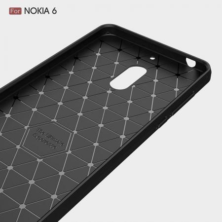 Husa Nokia 6 Carbon Fibre Brushed - negru3