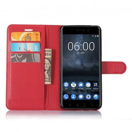 Husa Nokia 6 Crazy Horse Flip Book - rosu3