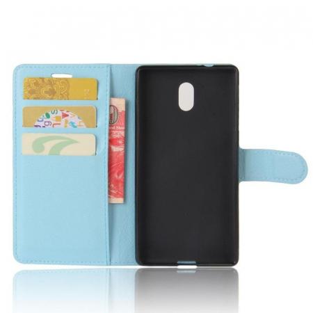 Husa   Nokia 3 Crazy Horse flip din piele eco - alb2