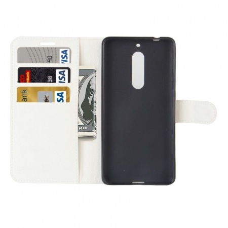 Husa Nokia 5  Crazy Horse flip din piele eco - alb4