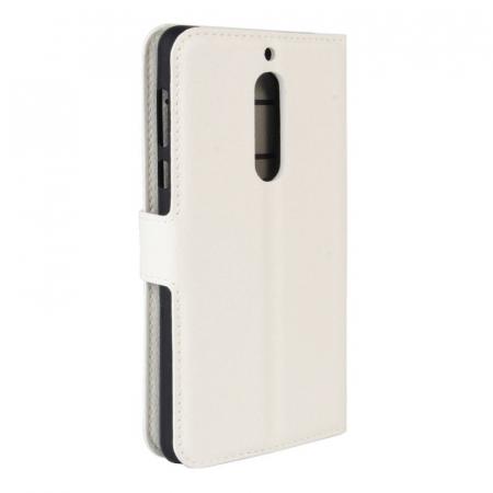 Husa Nokia 5  Crazy Horse flip din piele eco - alb1