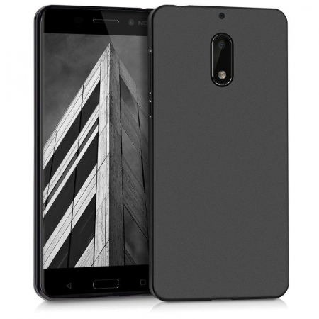 Husa  Nokia 6  Silicon Matte TPU extra slim - negru0